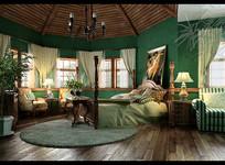 绿色古典家装卧室3D模型