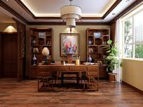 木质家装室内书房3D