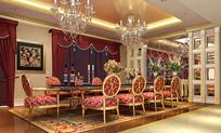 欧式奢华室内长桌餐厅3D