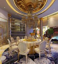 奢华室内餐厅3D模型