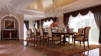 室内欧式长桌餐厅3D模型