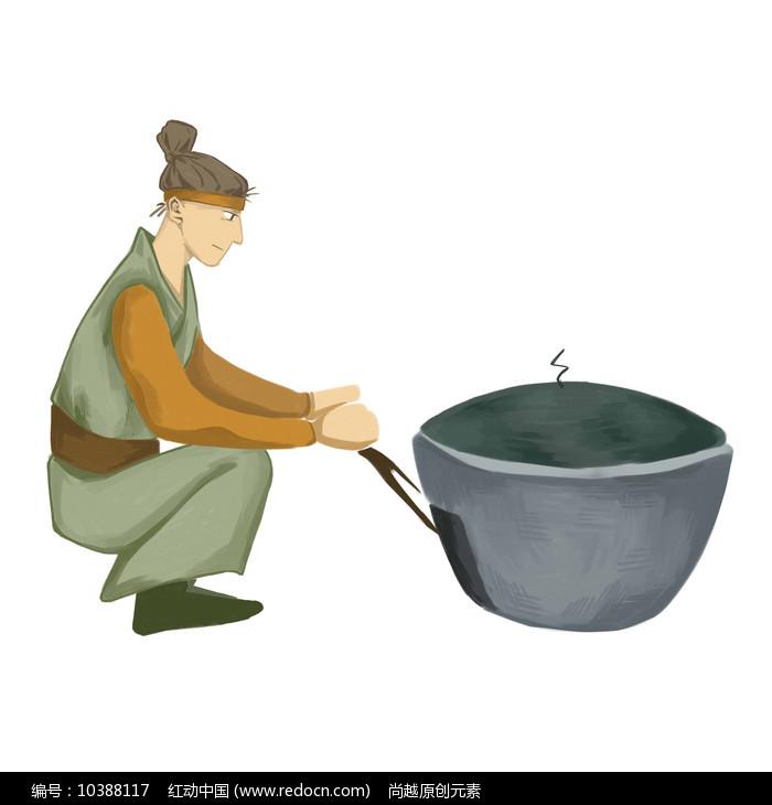 手绘创意制作美食过程农家乐烧火元素图片