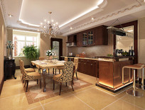 现代室内餐厅厨房3D