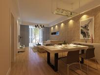 小型简约客厅3D模型