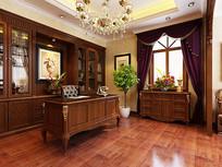 中式古典家装书房3D