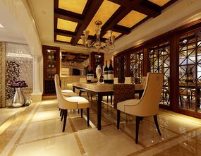 中式古典室内餐厅3D模型
