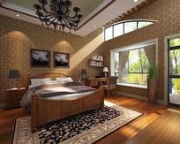 中式简约家装卧室3D模型