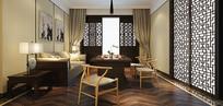 中式简约室内客厅3D模型