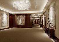 中式家装过道3D模型