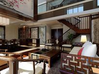 中式家装客厅3D模型