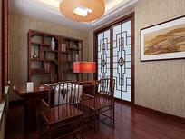 中式木质书房3D模型