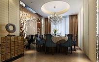 中式室内餐厅3D模型