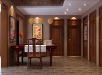 中式室内书房3D模型