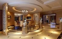 中式室内圆形餐厅3D模型