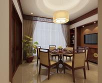 中式圆桌家装3D模型