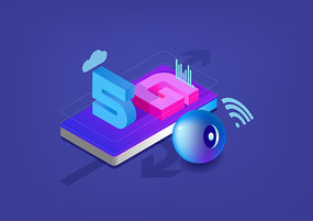 2.5D科技5G网络通讯元素