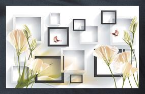 3D郁金香蝴蝶唯美客厅电视背景墙