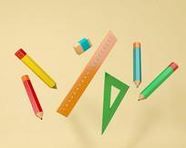 铅笔尺子橡皮文具元素