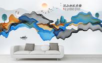 新中式禅意水墨山水背景墙