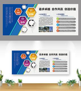 创意蓝色企业简介文化墙