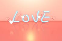 手绘艺术字LOVE情人节浪漫表白爱心