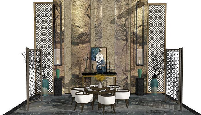 新中式餐厅 背景墙 端景台 玄关柜 餐边柜 装饰柜