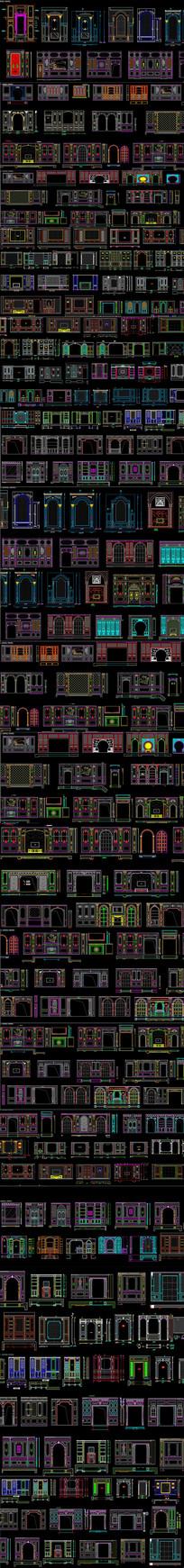 整木家居客厅餐厅背景墙CAD图库2004