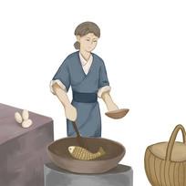 手绘创意古代人物制作水煮鱼传统美食元素