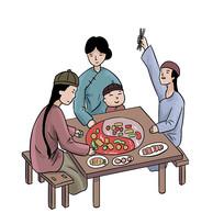 手绘古装人物一家人团聚吃火锅美食元素