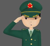 卡通军装敬礼军人