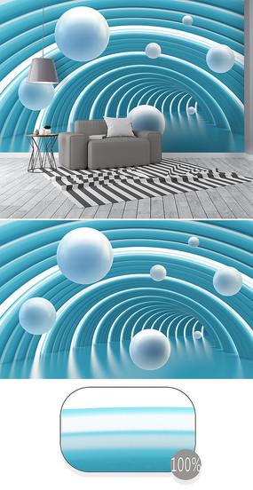 藍色立體圓球抽象空間3d背景墻