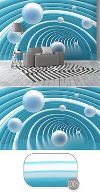 蓝色立体圆球抽象空间3d背景墙