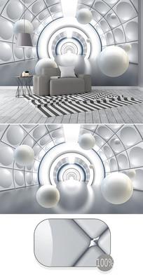 立体圆球空间隧道3d背景墙