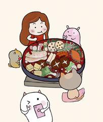 手绘原创卡通吃火锅图片