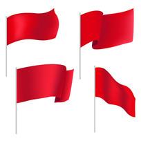 原创元素红色飘扬的旗子
