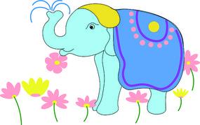 卡通可爱动物大象元素