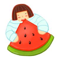 卡通可爱女孩吃西瓜夏天夏日元素