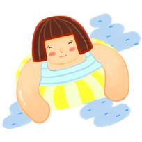 卡通可爱女孩带游泳圈在游泳夏天元素
