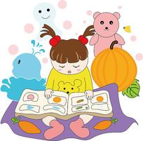 卡通可爱女孩拿书本看书儿童节元素