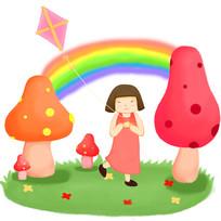 卡通可爱女孩在彩虹下蘑菇旁草坪上放风筝