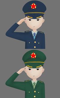 蓝绿军装敬礼卡通军人