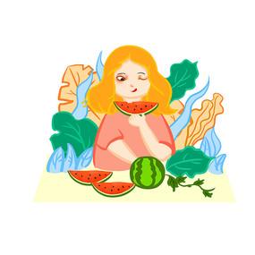 手绘创意女孩吃西瓜夏天夏日元素