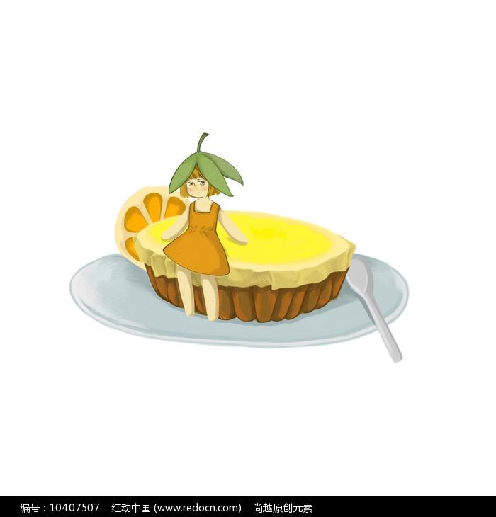手绘女孩坐在蛋糕上蛋糕店元素图片