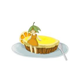 手绘女孩坐在蛋糕上蛋糕店元素