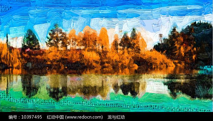 秋天的风景抽象画