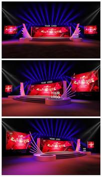 红色大气科技舞台效果图