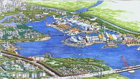 湖滨城市景观节点透视手绘 JPG