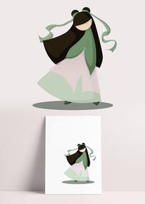 立春小姐姐扁平化复古古装卡通形象设计