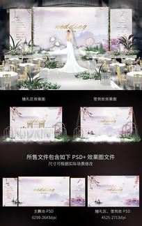 唯美韩式婚礼舞台背景板