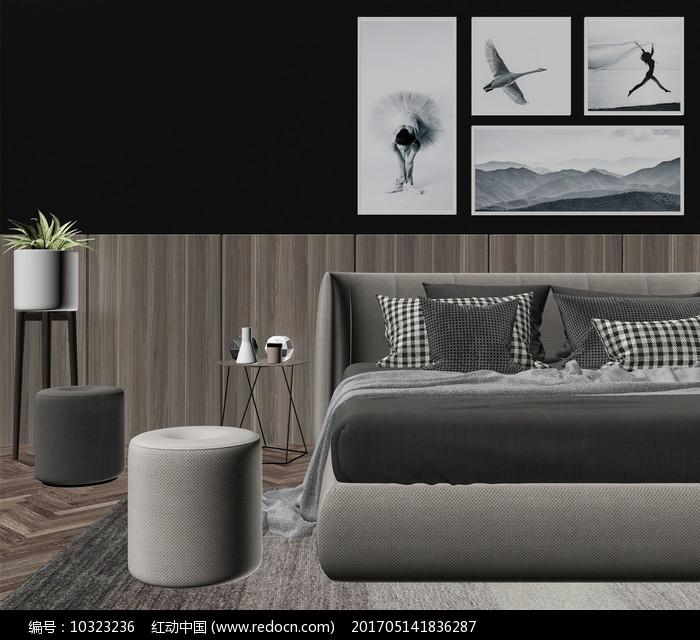 现代卧室  3D模型图片